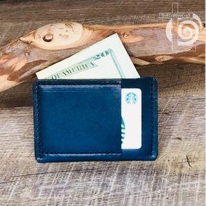 Ultra-slim black on blue wallet